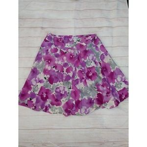 Purple floral linen skirt size 12